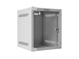 Szafa instalacyjna RACK wisząca 10'' 6U 280x310 drzwi szklane Lanberg (flat pack) - szara