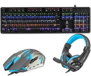 Klawiatura mechaniczna gamingowa podświetlana Rebeltec Imperator ALU + podświetlana mata + mysz + słuchawki dla graczy