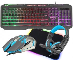 Klawiatura gamingowa podświetlana dla graczy FURY HELLFIRE + podświetlana mata + mysz + słuchawki