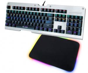 Klawiatura mechaniczna BLOW MECHANICAL RGB podświetlana metalowa + podświetlana mata + mysz