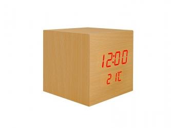 Budzik kostka LED z termometrem - kolor drewna