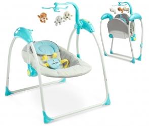 Leżaczek bujaczek huśtawka elektryczna Caretero LOOP melodie zabawki MP3 + pilot w zestawie - niebieski