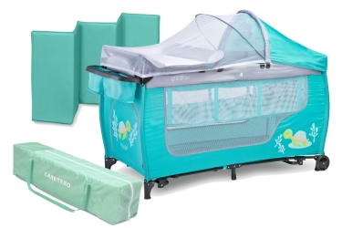 Łóżeczko turystyczne Caretero GRANDE PLUS kojec + torba + moskitiera + przewijak + organizer + zabawki - miętowe
