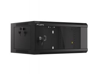 Szafa instalacyjna RACK wisząca 19'' 15U 570x450 drzwi szklane szybki montaż Lanberg (flat pack) - czarna