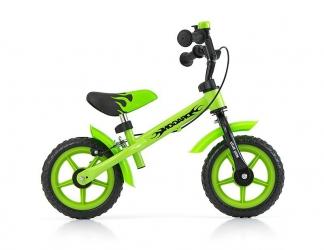 Rowerek biegowy Milly Mally Dragon z hamulcem i dzwonkiem zielony