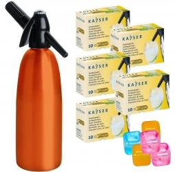 Saturator syfon do wody QUICK SODA pomarańczowy 1L + 50 naboi + 5 kostek lodu