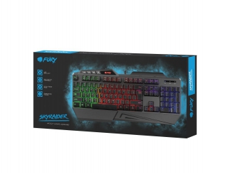 Klawiatura dla graczy z podświetleniem RGB FURY SKYRAIDER + mata + mysz + słuchawki + pad