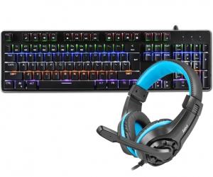 Klawiatura mechaniczna gamingowa podświetlana Rebeltec Imperator ALU + mysz + słuchawki dla graczy