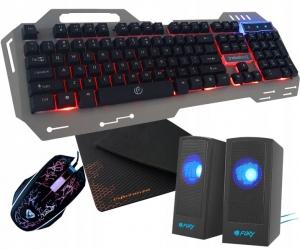 Metalowa klawiatura dla graczy Rebeltec Discovery 2 z podświetleniem + mata na biurko + mysz + głośniki Boogie