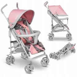 Wózek spacerowy  LIONELO ELIA TROPICAL + folia przeciwdeszczowa + moskitiera + pokrowiec na nogi - kolor różowy