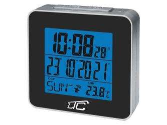 Zegar budzik z termometrem LTC sterowany radiowo - czarny