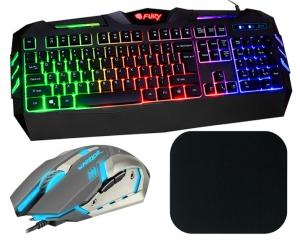 Klawiatura gamingowa podświetlana dla graczy FURY SPITFIRE + mysz + słuchawki
