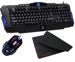 Podświetlana klawiatura dla graczy Rebeltec Legend LED blue metal + mata na biurko + mysz + słuchawki