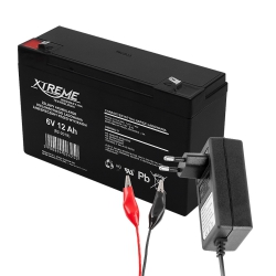 Akumulator żelowy XTREME 6V 12Ah + ładowarka