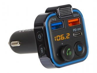 Podświetlany transmiter FM z zestawem głośnomówiącym BLOW Bluetooth 5.0 +QC3.0