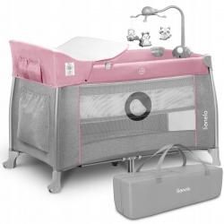 Łóżeczko turystyczne Lionelo Thomi z przewijakiem + karuzela z zabawkami - różowe