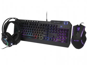 Zestaw klawiatura gamingowa podświetlana + mysz + słuchawki dla graczy BLOW Adrenaline CYBERGOD