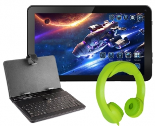 Tablet edukacyjny 10'' 3G IPS GPS Dual SIM dla dzieci KIDS + gry + klawiatura + słuchawki zielone