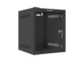 Szafa instalacyjna RACK wisząca 10'' 6U 280x310 drzwi szklane Lanberg (flat pack) - czarna
