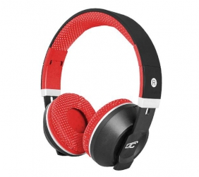 Słuchawki bluetooth LTC MIZZO mikrofon FM SD AUX - czerwone