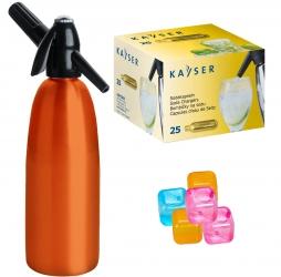 Saturator syfon do wody QUICK SODA pomarańczowy 1L + 25 naboi + 5 kostek lodu