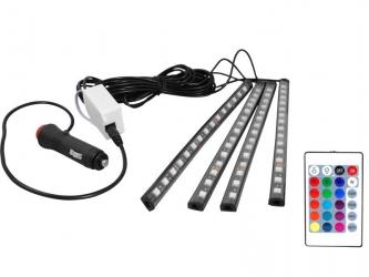 Zestaw oświetlenia kabiny samochodu LED RGB wnętrza auta + pilot