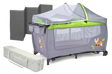 Łóżeczko turystyczne Caretero GRANDE PLUS kojec + torba + moskitiera + przewijak + organizer + zabawki - szare