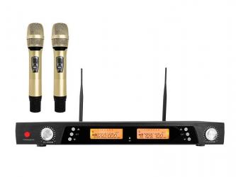 System mikrofonów bezprzewodowych LTC PLATINIUM MIC05 UHF 2x mikrofon + stacja