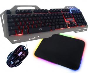 Metalowa klawiatura gamingowa dla graczy Rebeltec Discovery 2 podświetlenie + podświetlana mata + mysz