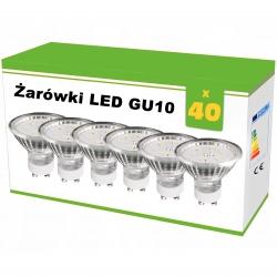 Zestaw 40x żarówek LED GU10 1,2W AC230V, 100lm,WW,blister