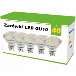 Zestaw 40x żarówek LED GU10 3.6W 25xSMD2835, AC230V, 320lm, WW blist.