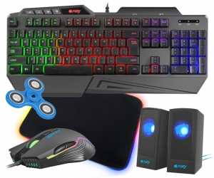 Klawiatura gamingowa podświetlana dla graczy FURY SKYRAIDER z podświetleniem + mysz FURY Hustler 6400DPI RGB + mata LED + głośniki LED
