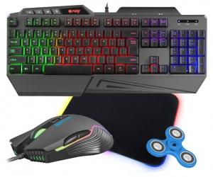 Klawiatura gamingowa podświetlana dla graczy FURY SKYRAIDER z podświetleniem + bezprzewodowa mysz FURY STALKER + mata LED