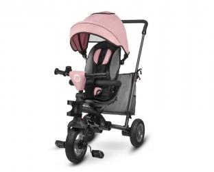 Wózek spacerowy rowerek trójkołowy 2 w 1 LIONELO TRIS obracany - różowy