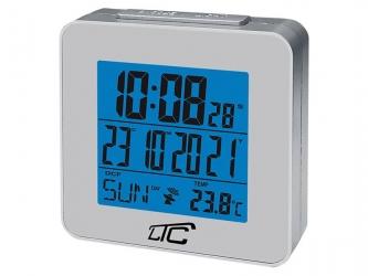Zegar budzik z termometrem LTC sterowany radiowo - srebrny