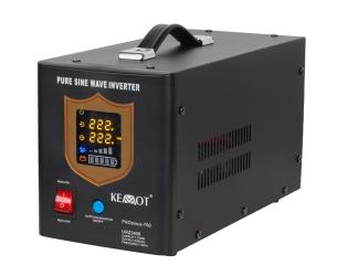 Awaryjne źródło zasilania KEMOT URZ3406 PROsinus-700 przetwornica z czystym przebiegiem sinusoidalnym i funkcją ładowania 12V / 700W czarny