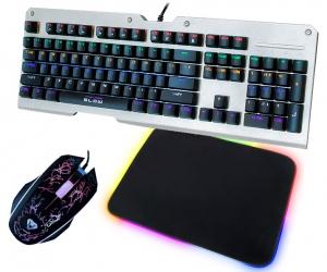 Klawiatura mechaniczna BLOW MECHANICAL RGB podświetlana metalowa + podświetlana mata + mysz + słuchawki