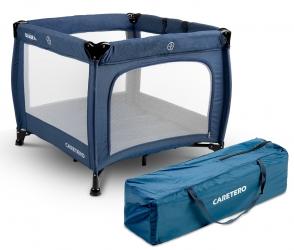 Kojec łóżeczko Caretero QUADRA + torba - niebieski