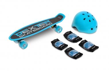 Deskorolka Caretero Toyz DEXTER + kask i ochraniacze - niebieska