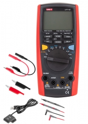 Miernik uniwersalny Uni-t UT71D krokodylki krótkie przewody z krokodylkami sonda pomiaru temperatury kabel USB