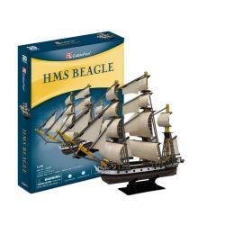 PUZZLE 3D Żaglowiec HMS Beagle zestaw XL 186 elementów skala 1:76