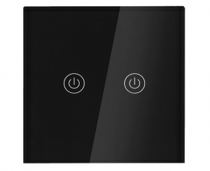 Dotykowy włącznik światła WiFi szklany podwójny - czarny