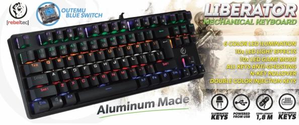 Aluminiowa mechaniczna klawiatura gamingowa dla graczy REBELTEC LIBERATOR z podświetleniem