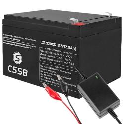 Akumulator żelowy CSSB 12V 12Ah  + ładowarka