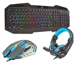 Klawiatura gamingowa podświetlana dla graczy REBELTEC PATROL + podświetlana mata + mysz + słuchawki