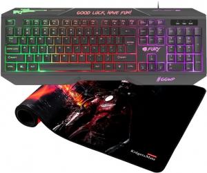 Podświetlana klawiatura dla graczy gamingowa FURY HELLFIRE 2 + duża mata na biurko Warrior XXL 89cm Kruger&Matz