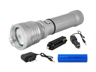 Latarka ręczna LTC LED zestaw ładowarka sieciowa i samochodowa