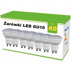 Zestaw 40x żarówek LED GU10 4W AC230V, CW blist.