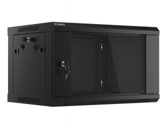 Szafa instalacyjna RACK V2 wisząca 19'' 6U 600x450 drzwi szklane Lanberg  - czarna