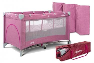 Łóżeczko turystyczne Caretero BASIC PLUS kojec + torba - różowe
